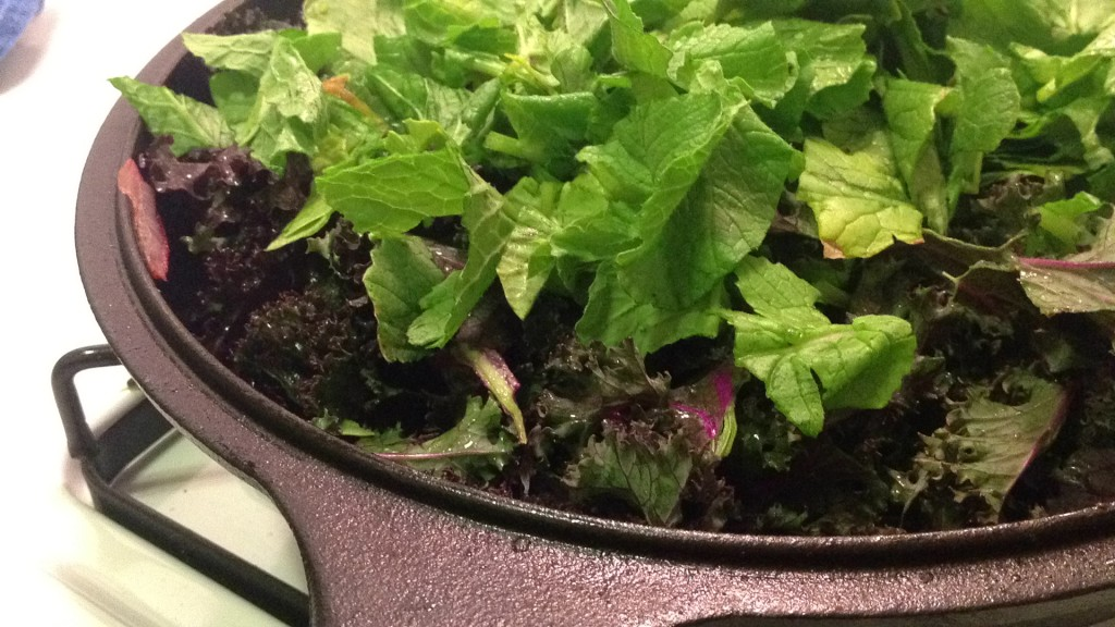 Radish, Kale in Cast Iron