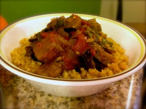 Spiced Vegan Eggplant, Heirloom Tomato and Kale with Quinoa