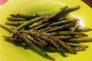Charred Spicy Mustard Green Beans