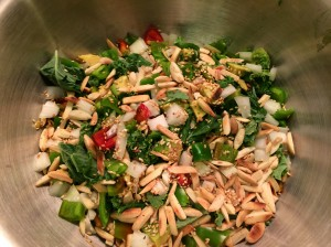 Asian Kale Salad with Sriracha Maple Syrup Dressing
