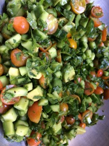 Chopped Parsley Salad (Grain Free Tabouleh) with Avocado