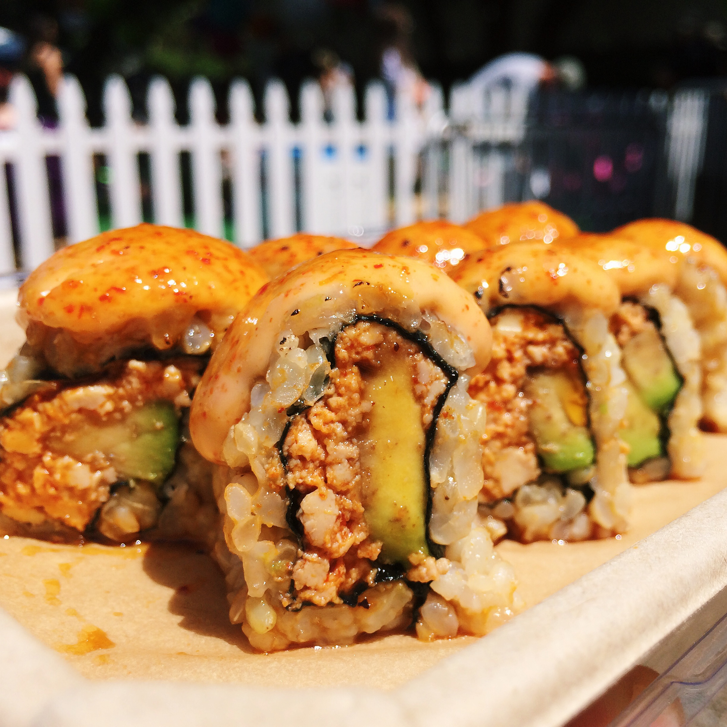 vegan dragon sushi roll from shojin