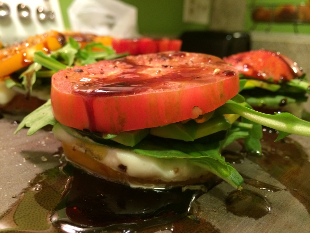 caprese sandwich with balsamic reduction