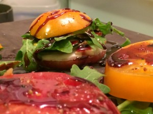 "Burrata Caprese Salad ""Sandwiches"" with a Garlic and Chili Inflused Balsamic Reduction"