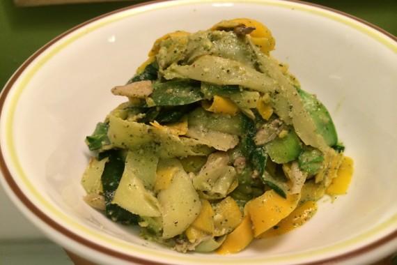 "Zucchini Pappardelle ""Pasta"" with a Vegan Pistachio Mint Pesto"